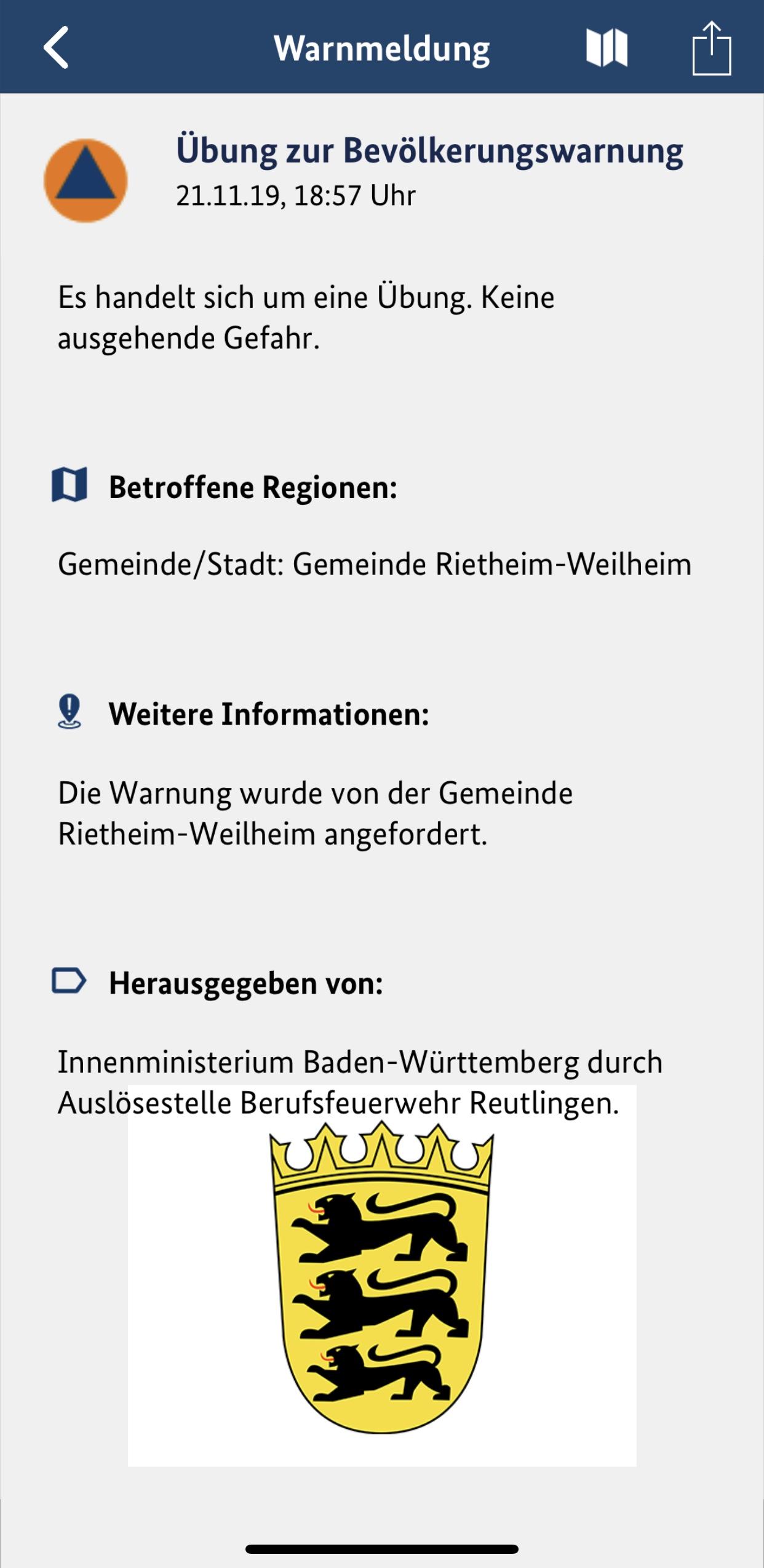 """Warunungsmeldung der Warn-App """"NINA"""""""