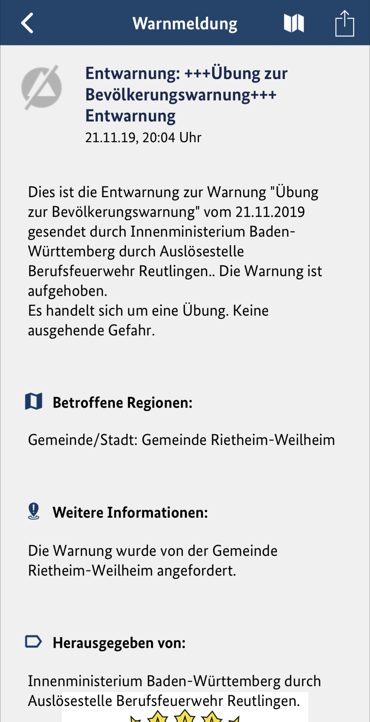 "Entwarnungsmeldung der Warn-App ""NINA"""